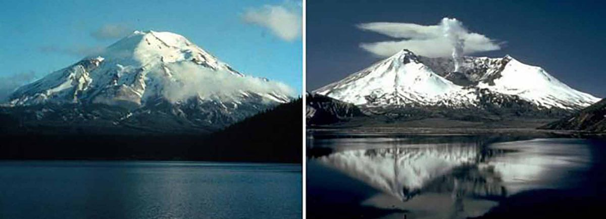Literally moving mountains - before and after of Mt St Helens eruption