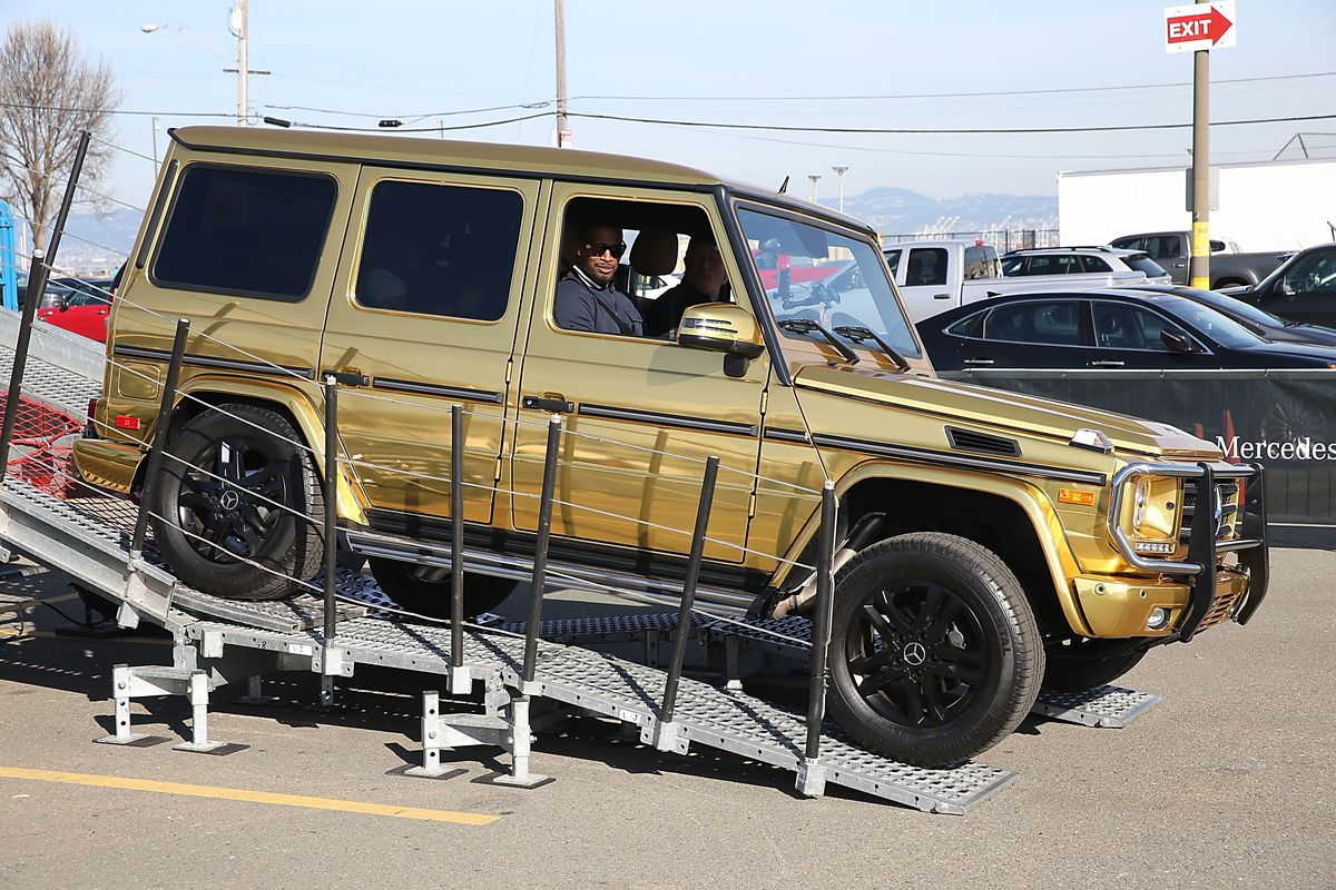 Jamie Foxx Goes For A Spin In The Special Edition Mercedes-Benz G550 In Celebration Of Super Bowl 50