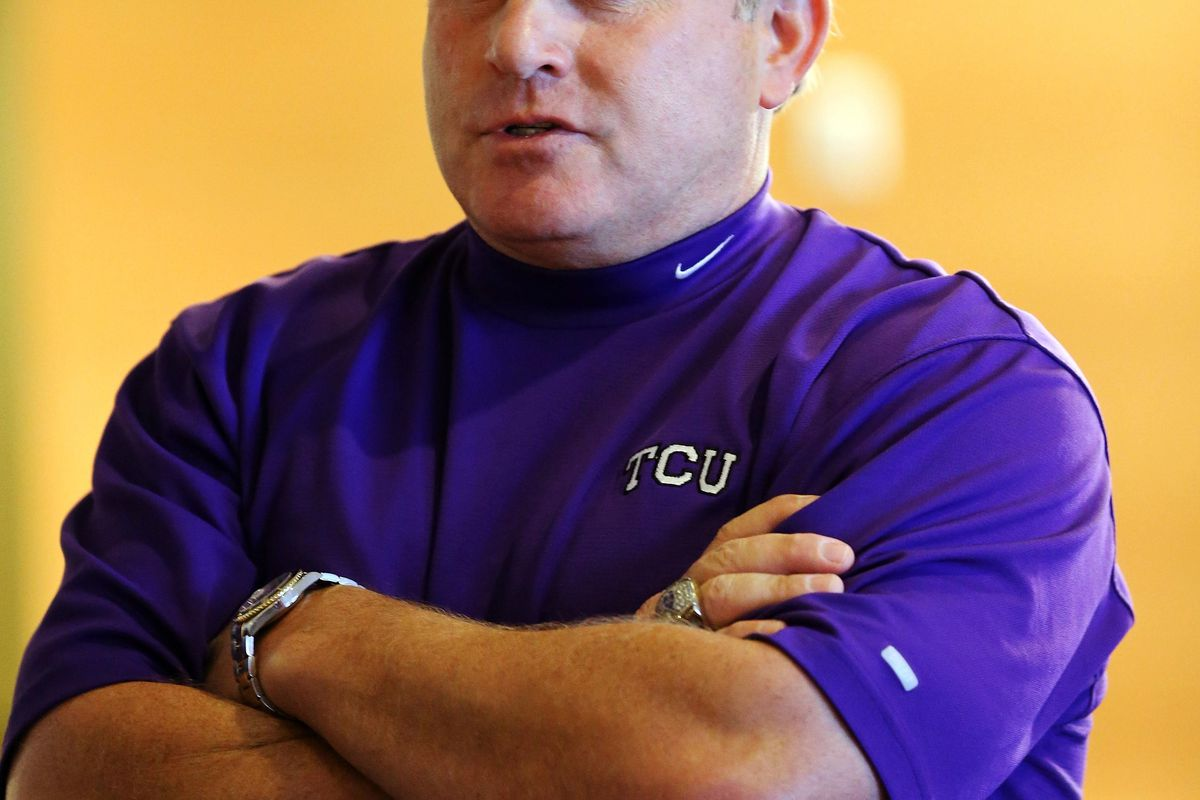 Jul 23, 2012; Dallas, TX, USA; TCU Horned Frogs head coach Gary Patterson speaks to reporters during Big 12 Media Day at the Westin Galleria.  Mandatory Credit: Kevin Jairaj-US PRESSWIRE
