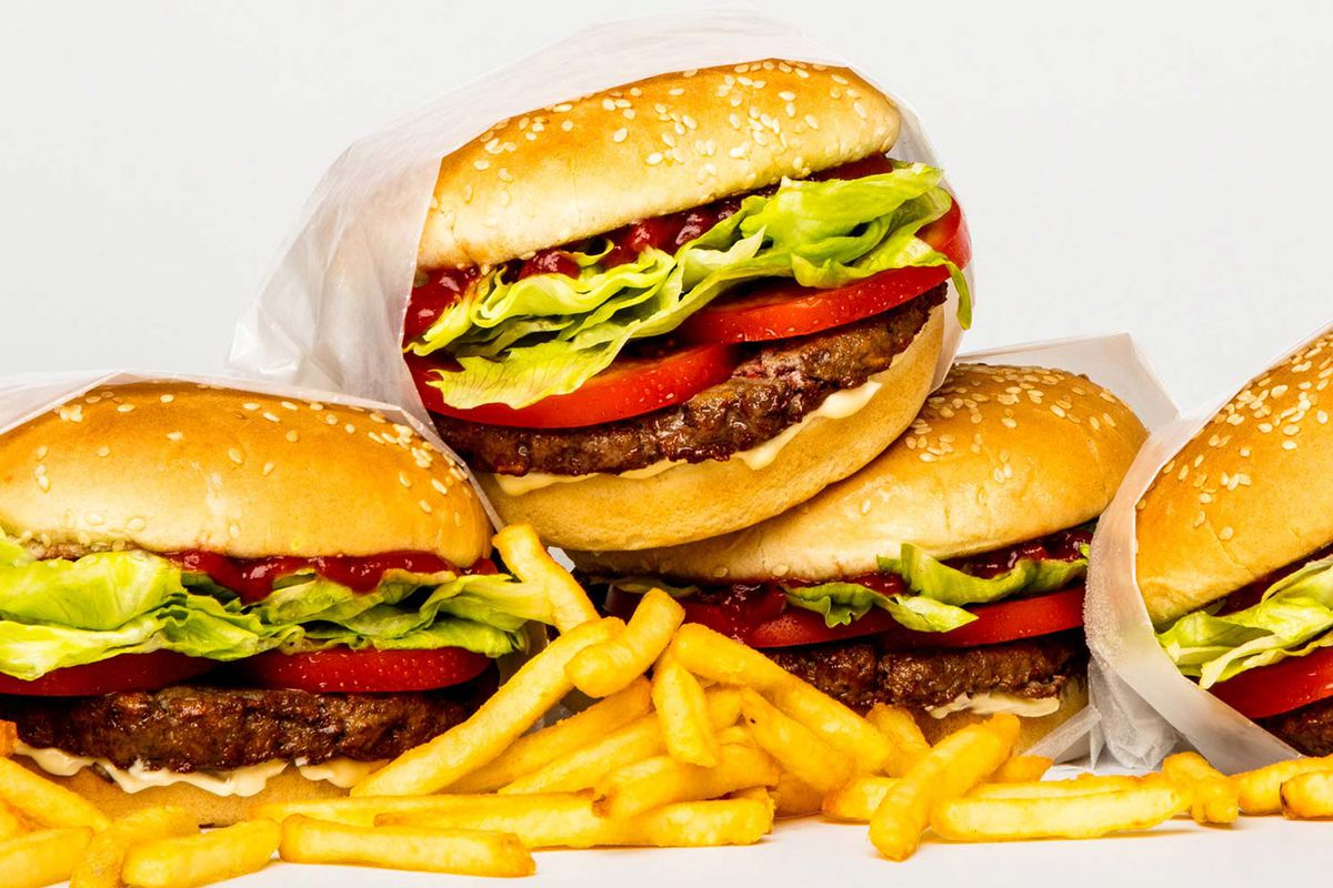 Burgers made from meat substitute, with fries