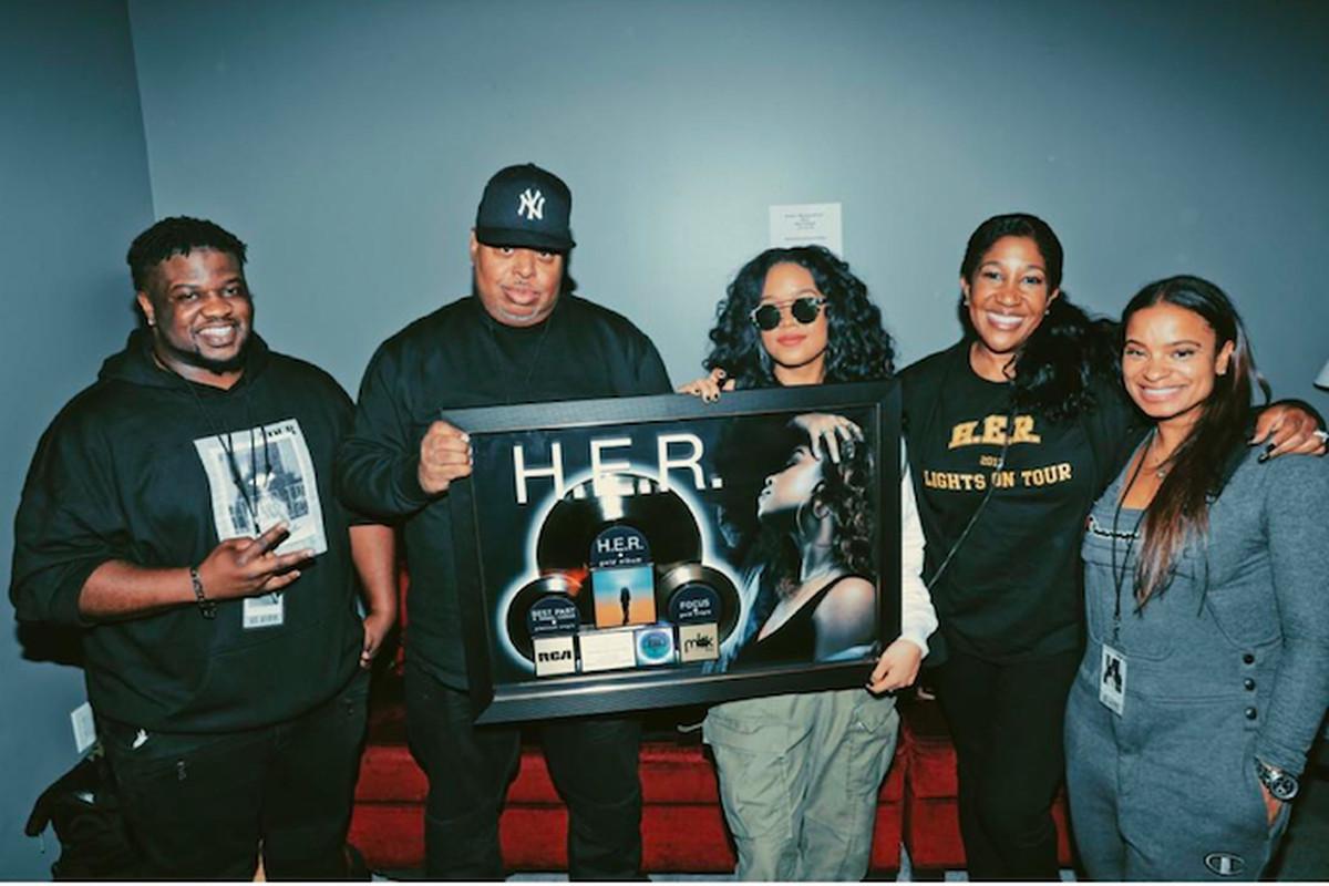 H.E.R., Misha Mayes and H.E.R.'s team