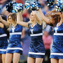 Brigham Young Cougars cougarettes perform  in Provo on Saturday, Nov. 12, 2016.