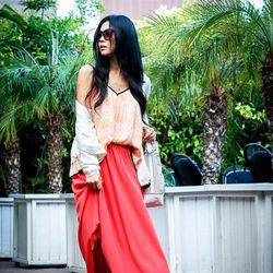 """Jenny of <a href=""""http://www.goodbadandfab.com""""target=""""_blank"""">Good, Bad, and Fab</a> is wearing a Line & Dot top, a <a href=""""http://www.sears.com/kardashian-kollection-women-s-high-low-long-skirt/p-007VA72770212P""""target=""""_blank"""">Kardashian Kollection</a>"""