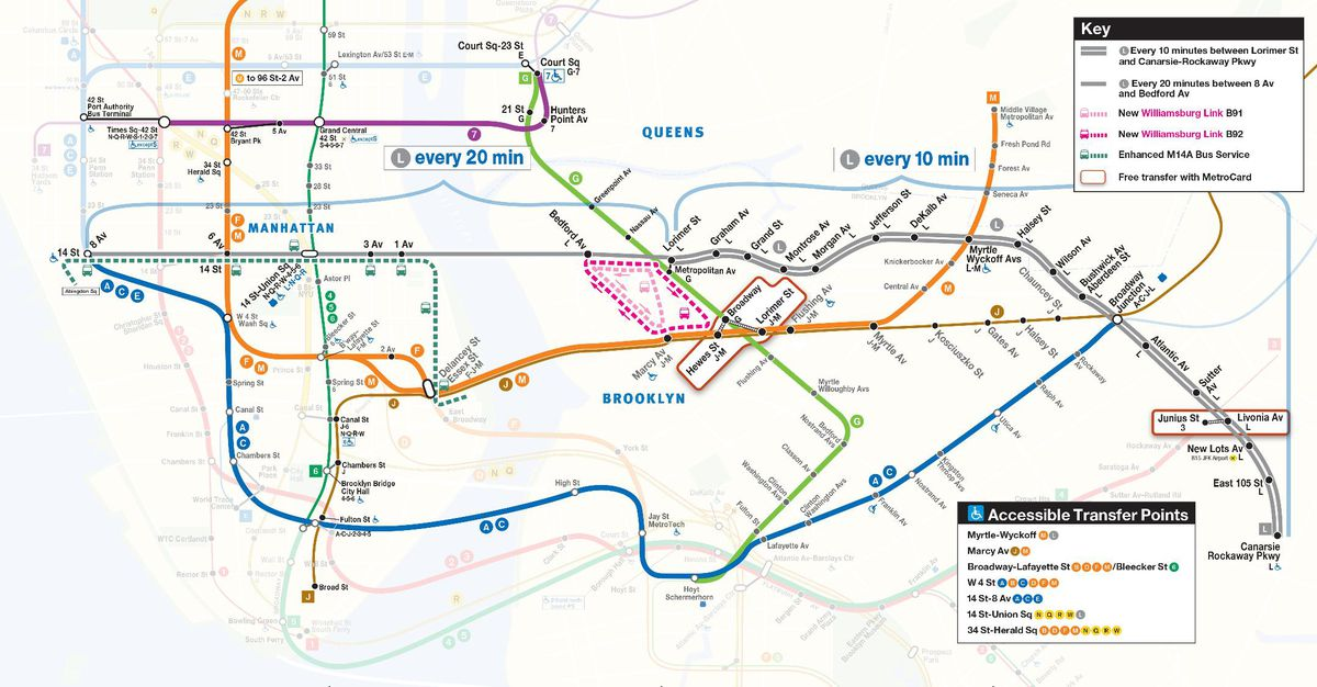 Q Line Subway Map.Mta S L Train Shutdown Dates Transit Alternatives And More