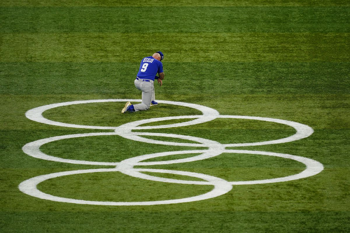 The Olympic Rings on a baseball field in Japan.
