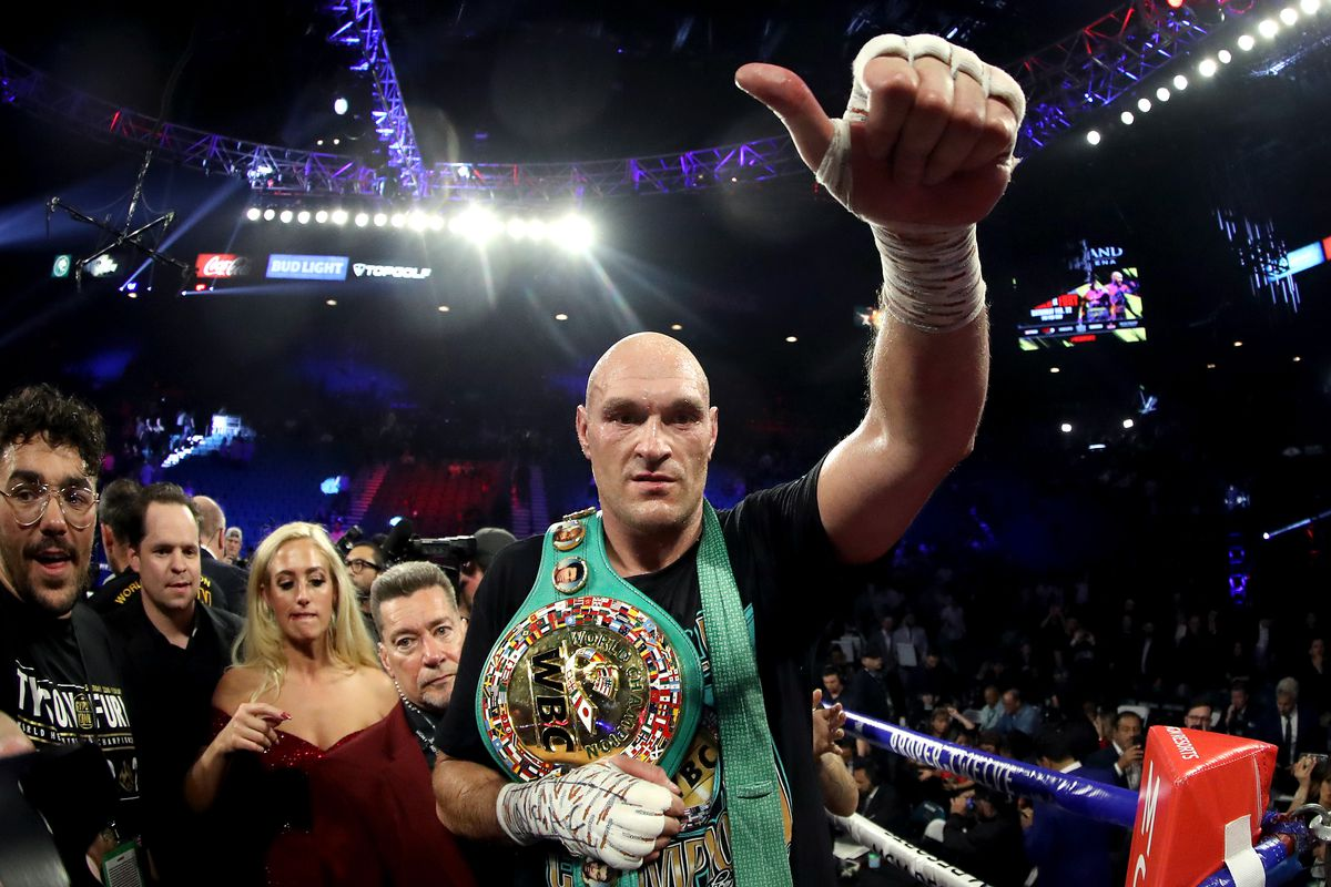 yson Fury celebrates his win by TKO in the seventh round against Deontay Wilder in the Heavyweight bout for Wilder's WBC and Fury's lineal heavyweight title on February 22, 2020 at MGM Grand Garden Arena in Las Vegas, Nevada.