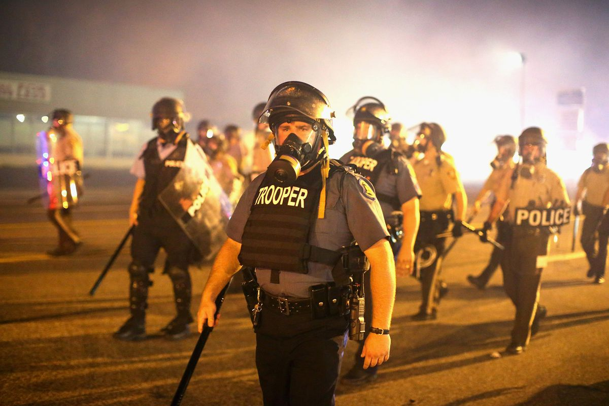 Cops in Ferguson, Missouri, during protests over the police shooting of Michael Brown.