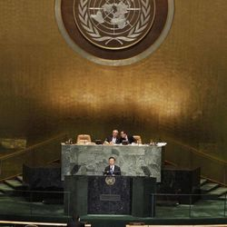 Chinese Foreign Minister Yang Jiechi  addresses the 67th session of the United Nations General Assembly at U.N. headquarters Thursday, Sept. 27, 2012.