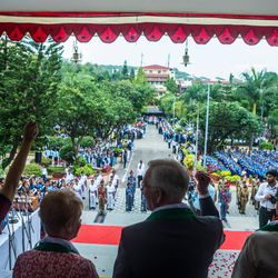 """Elder D. Todd Christofferson, a member of the Quorum of Twelve Apostles for The Church of Jesus Christ of Latter-day Saints,  third from left, along with other dignitaries say """"Jai Hind"""" (""""Hail India"""") during the 71st Independence Day celebrations at the MIT World Peace University in Pune, Maharashtra, India, on August 15, 2017."""