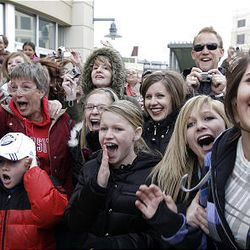 """David Archuleta fans scream as the """"American Idol"""" finalist arrives at The Gateway to sign autographs in Salt Lake City Friday."""