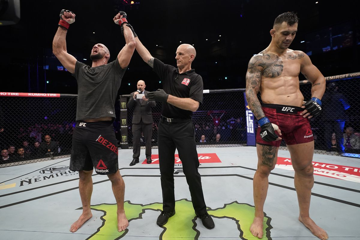 Volkan Oezdemir of Switzerland celebrates after his split-decision victory over Aleksandar Rakic of Austria in their light heavyweight fight during the UFC Fight Night event at Sajik Arena 3 on December 21, 2019 in Busan, South Korea.