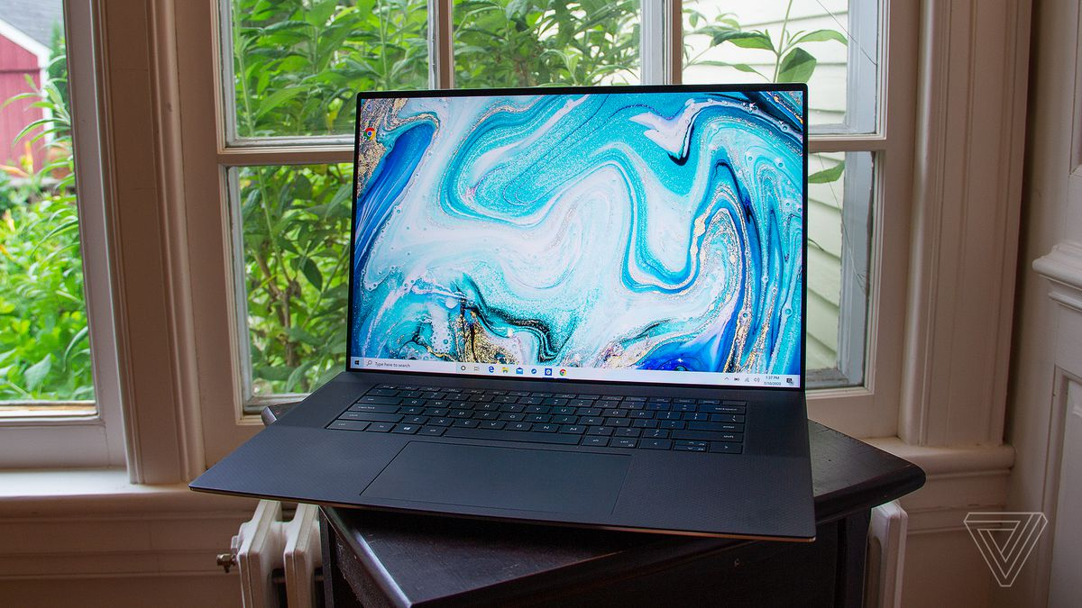 The Dell XPS 17 sitting on a table.