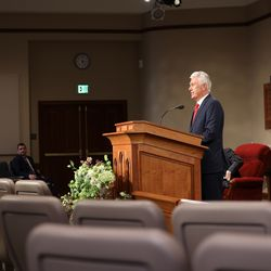 Elder Dieter F. Uchtdorf of the Quorum of the Twelve Apostles speaks during the Sunday afternoon session of the 190th Annual General Conference of The Church of Jesus Christ of Latter-day Saints in Salt Lake City on Sunday, April 5, 2020.