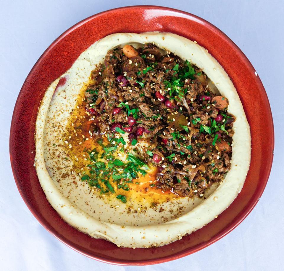 Hummus with sauteed beef at Humaari