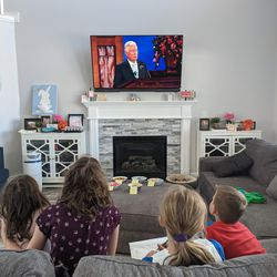 Allie, Hailey, Lindsey and Isaac Condie, of the Bluffdale 6th Ward, Bluffdale Utah Stake, watch the Saturday afternoon session of The Church of Jesus Christ of Latter-day Saints' 191st Annual General Conference on April 3, 2021.