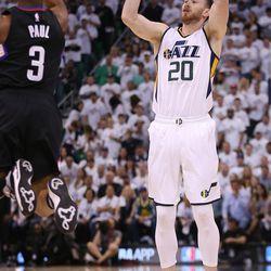 Utah Jazz forward Gordon Hayward (20) shoots over LA Clippers guard Chris Paul (3) during NBA playoffs game 4 in Salt Lake City on Monday, April 24, 2017. The Jazz won 105-98.