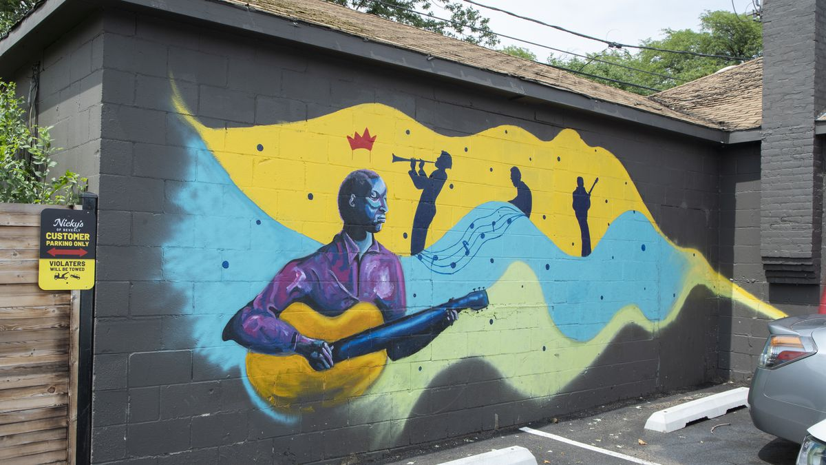 The murals at Nicky's of Beverly are a mesh of blues music, hippies and street art.