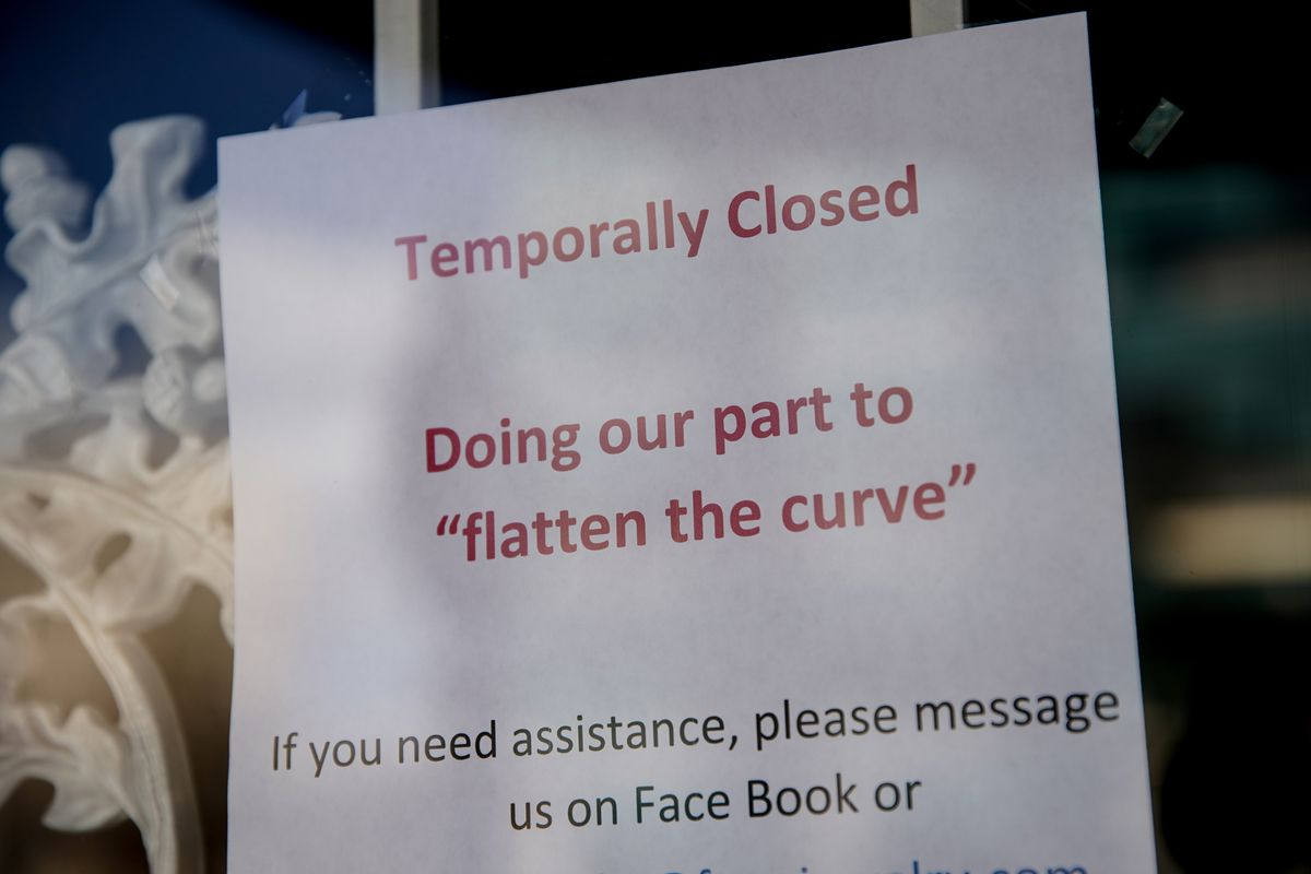 A sign in the door of Farr's Jewelry and Cameras in Ogden on Thursday, April 2, 2020, alerts customers the businesses closed to prevent the spread of COVID-19.