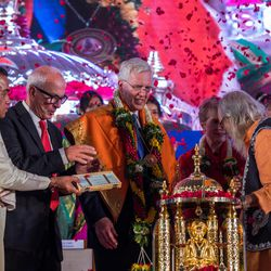 Elder D. Todd Christofferson, a member of the Quorum of Twelve Apostles for The Church of Jesus Christ of Latter-day Saints receives the Philosopher Saint Shri Dnyaneshwara World Peace Prize-2017, during an award ceremony at the MIT World Peace University  in Pune, Maharashtra, India on August 14, 2017.
