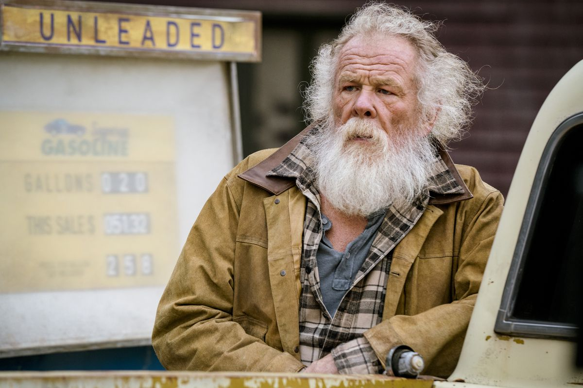 Nick Nolte with a giant beard playing Mike Banning's dad in Angel Has Fallen