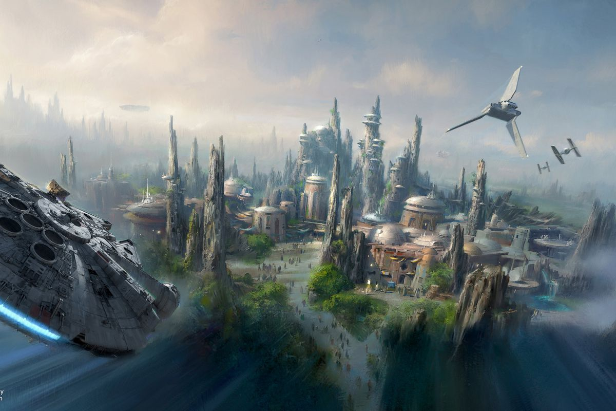 an artists rendering of the star wars themed lands coming to anaheim california and orlando florida all images via disney lucas arts