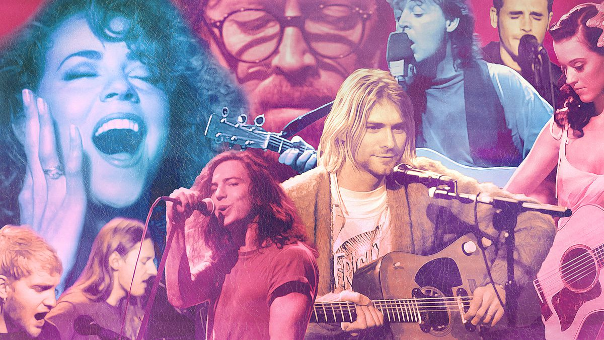Collage of artists performing on 'MTV Unplugged'