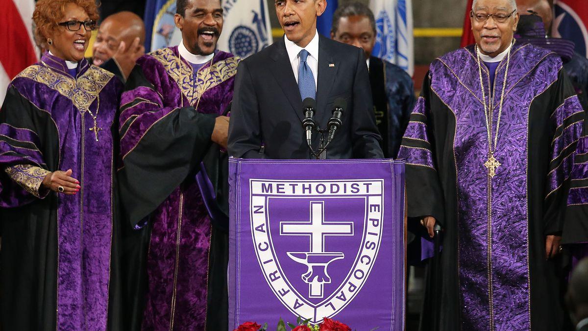 President Obama delivering the eulogy for Rev. Clementa Pinckney, who was slain in the June 17 Charleston church massacre.