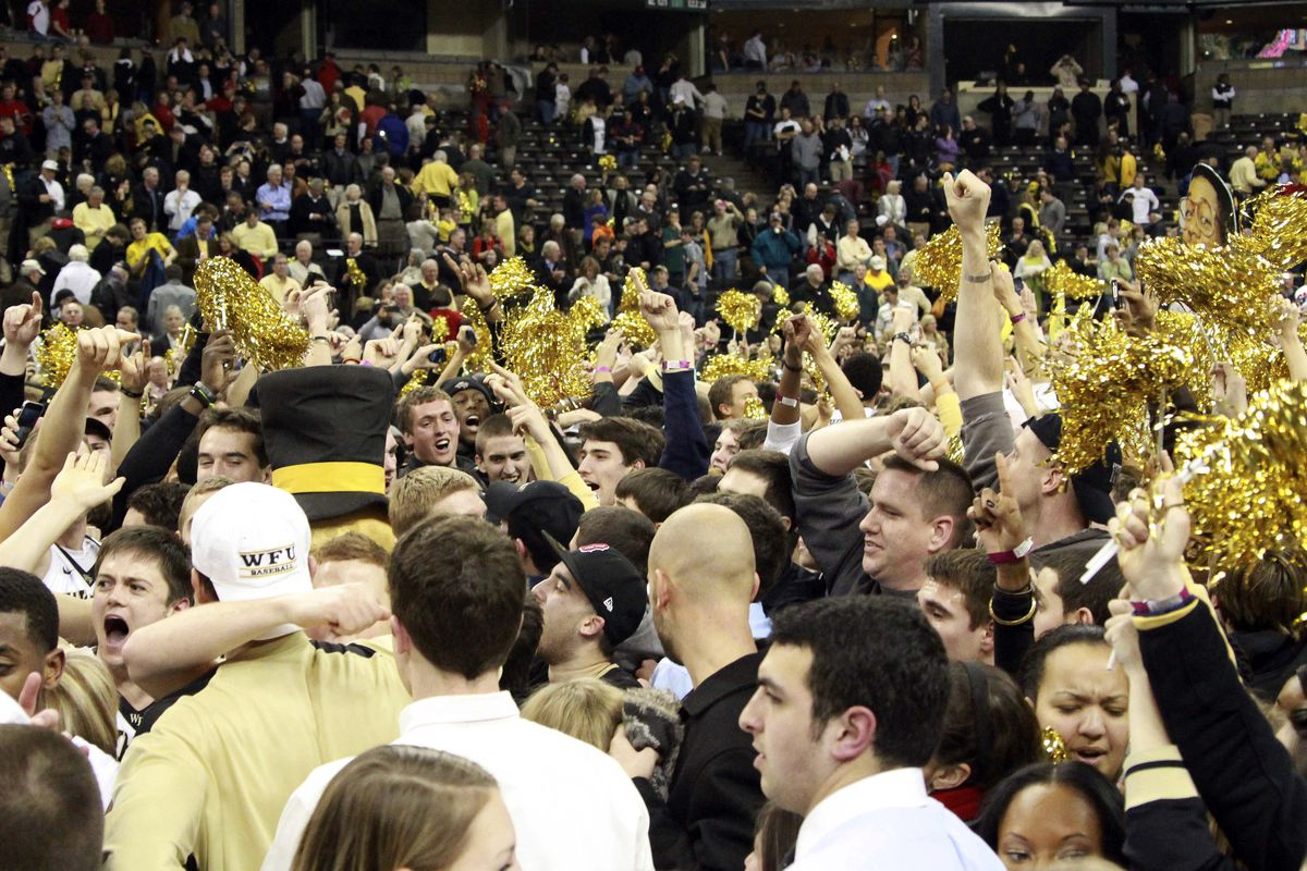 Wake Forest fans celebrate a win over N.C. State