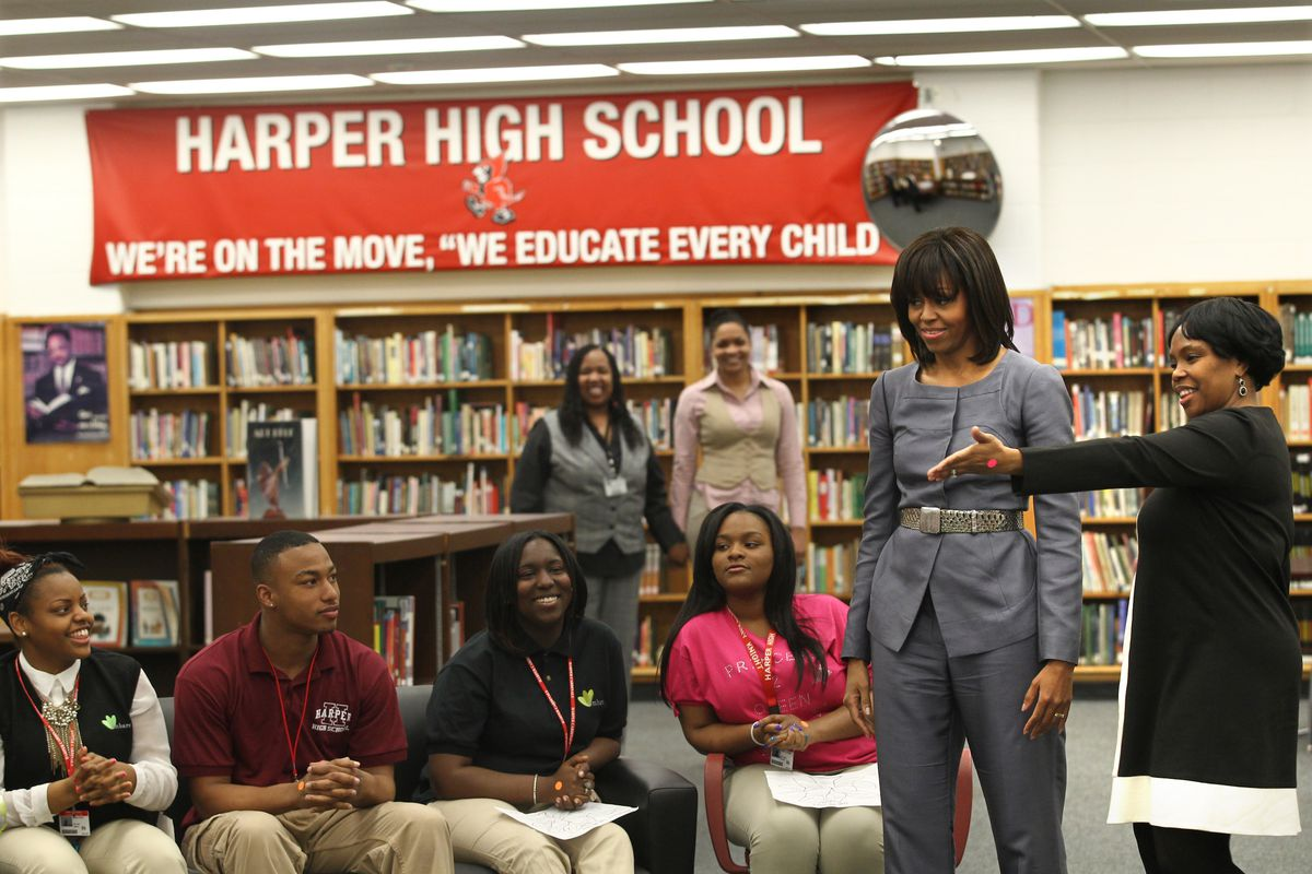 First Lady Michelle Obama visits Harper High School in Chicago's Englewood neighborhood Wednesday April 10, 2013 to talk with students about the plague of violence in their area.