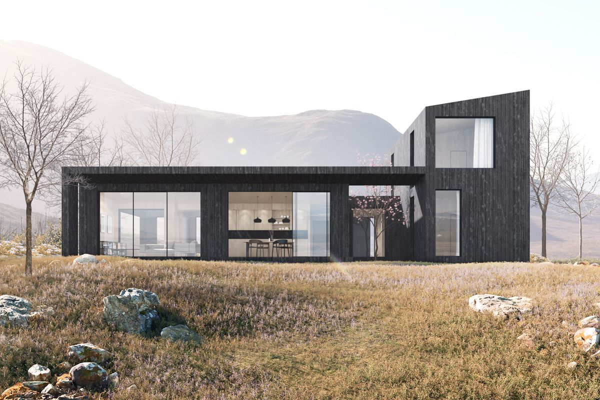 Rendering of modern house with door open to patio
