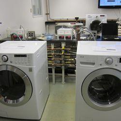 Washing machines in the machine testing room