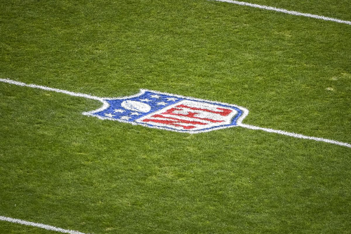 The NFL logo is pictured before the first quarter between the Cleveland Browns and Pittsburgh Steelers at FirstEnergy Stadium on January 03, 2021 in Cleveland, Ohio.