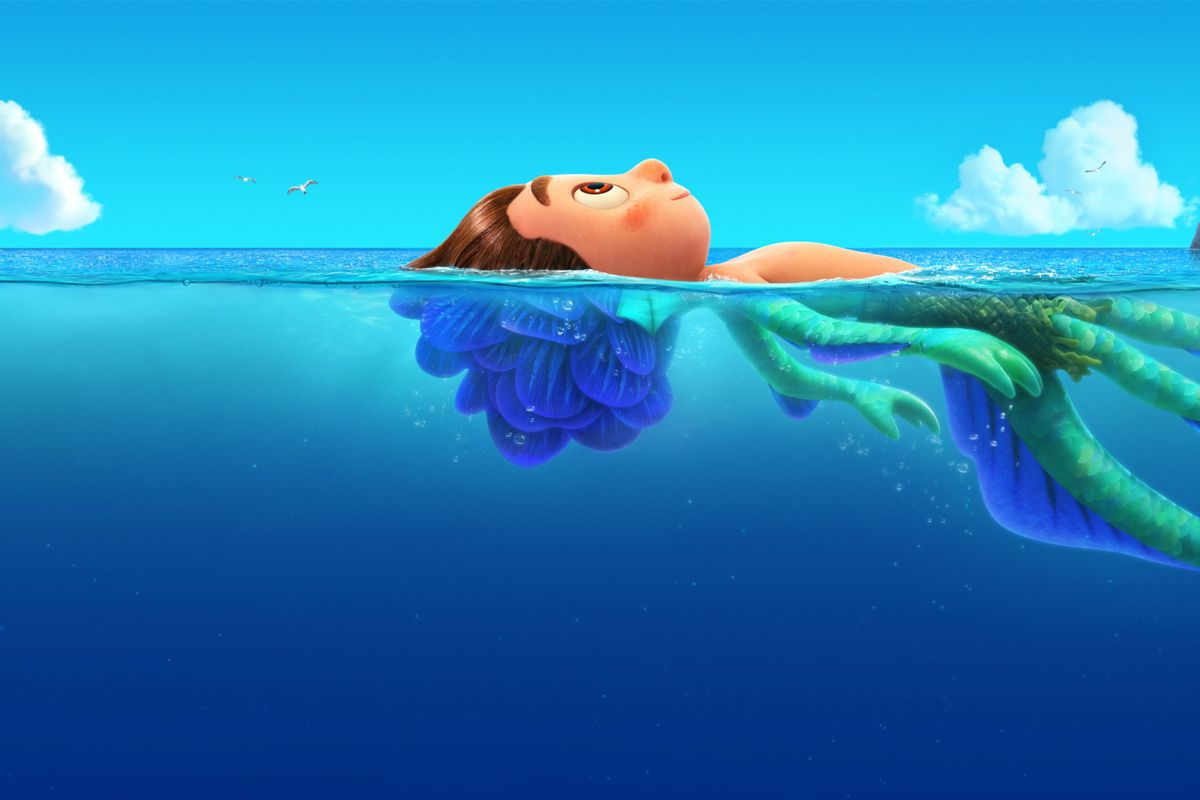 A cartoon boy floating the sea. The submerged part of him has green scales.