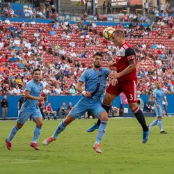 Reto Ziegler (3) heads the ball in the second half of the match against New York City FC.