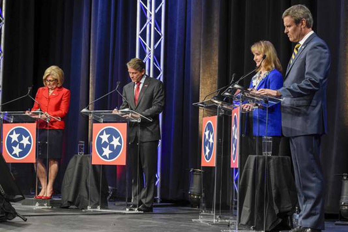 From left: Tennessee Republican gubernatorial candidates Diane Black, Randy Boyd, Beth Harwell, and Bill Lee debate one another on June 20, 2018, at Pope John Paul II High School in Hendersonville.