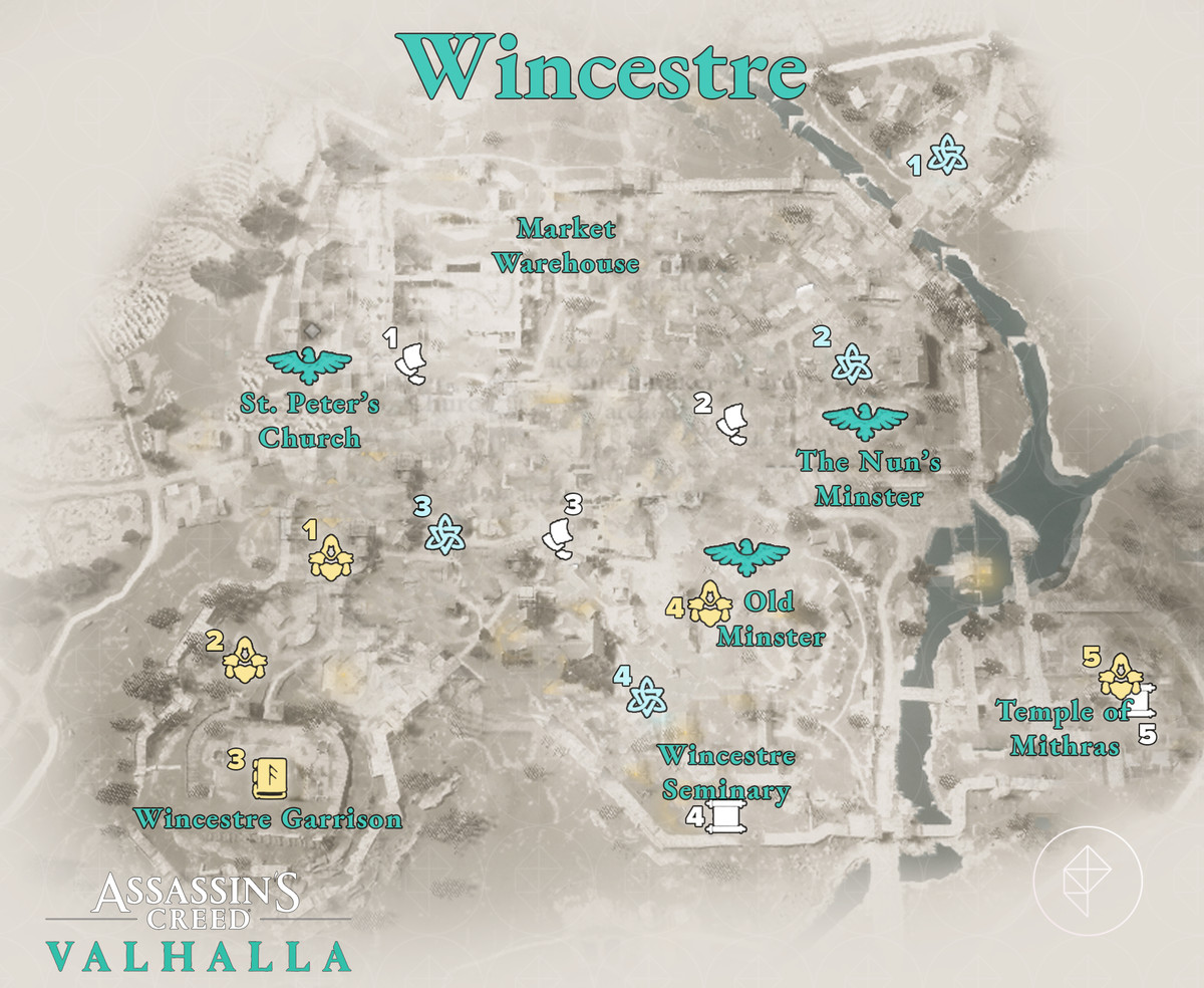 Wincestre Wealth, Mysteries, and Artifacts locations map