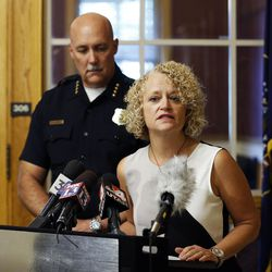 Salt Lake City Mayor Jackie Biskupski and Police Chief Mike Brown speak during a press conference in Salt Lake City on Friday, Sept. 1, 2017, concerning a University Hospital nurse who was arrested for not allowing a blood draw by a Salt Lake police officer.