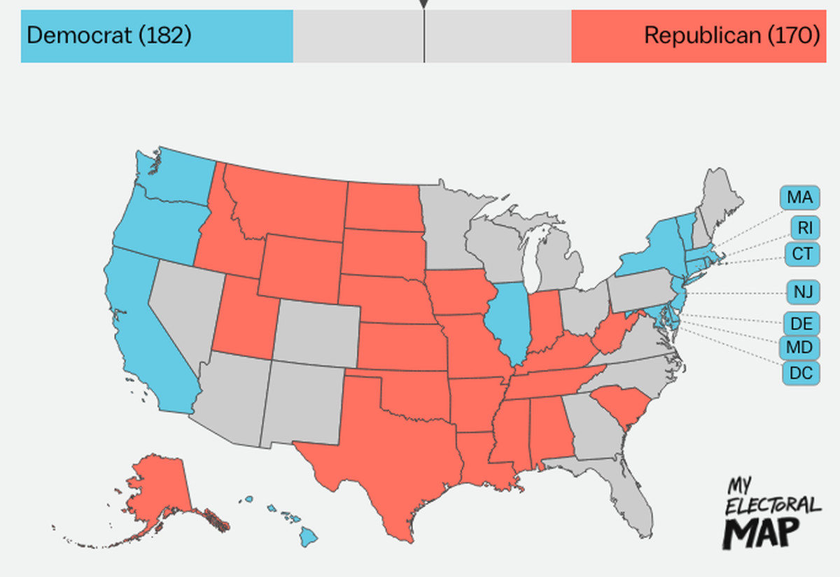2 but the outcome of the presidential election is really just settled in a few swing states right