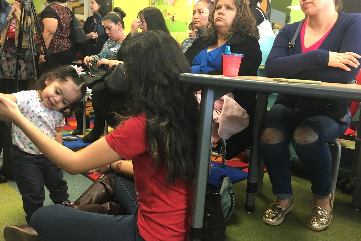 Community members gathered in the library of Godsman Elementary School for a Denver Public Schools announcement that suspension and expulsion will be eliminated for preschool through third-grade.
