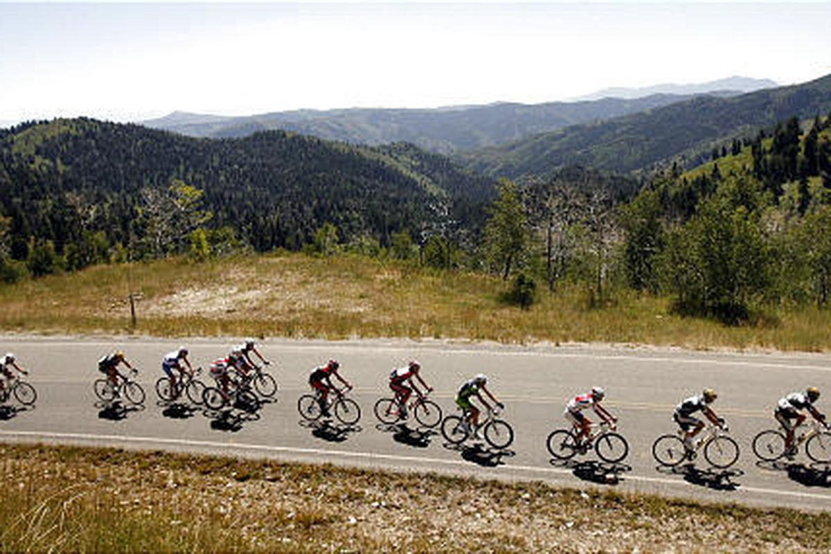 Tour of Utah competitors race up Mount Nebo during the second stage of the race on Aug. 20.