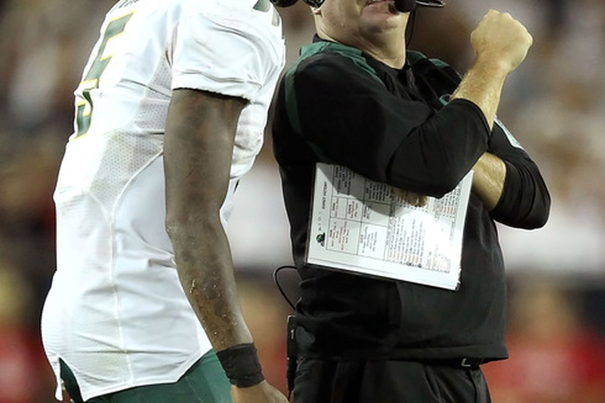 TUCSON, AZ - SEPTEMBER 24:  Chip Kelly has found his new QB1 (Photo by Christian Petersen/Getty Images)