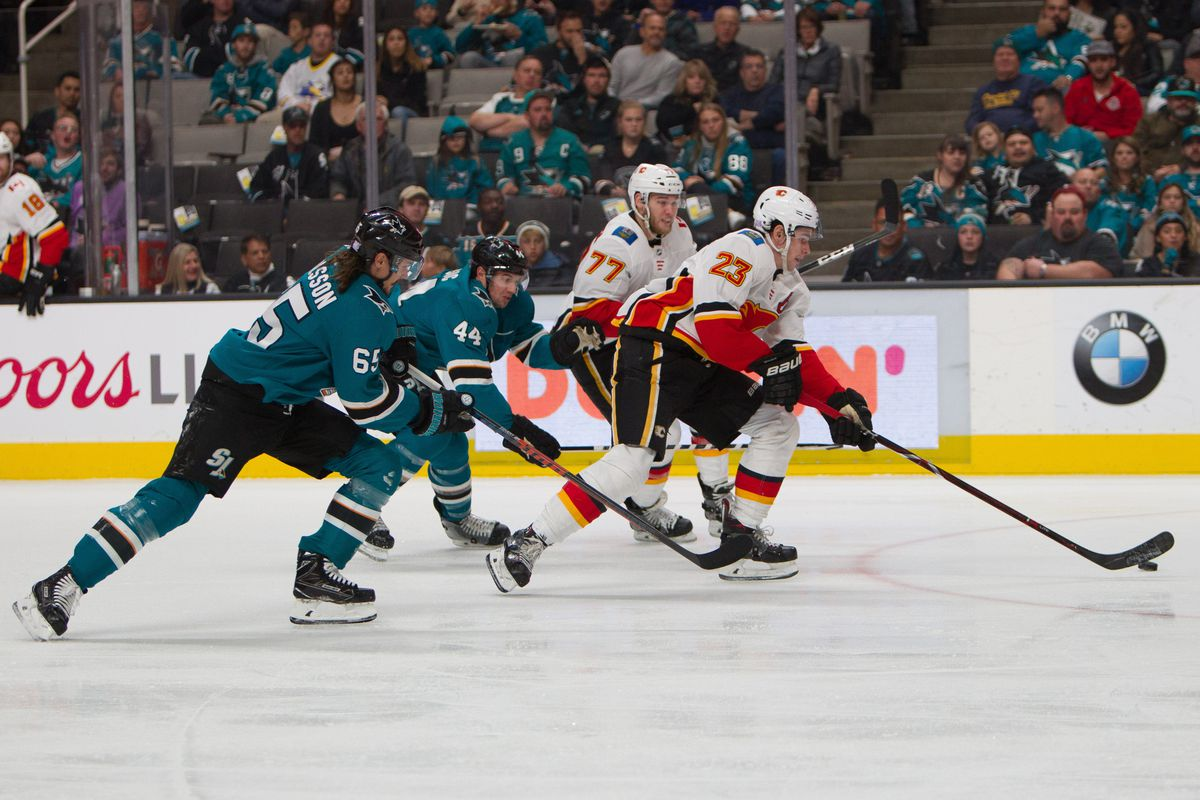 Calgary Flames center Sean Monahan (23) and center Mark Jankowski (77) drives the puck up ice before scoring a goal against San Jose Sharks defenseman Erik Karlsson (65) and defenseman Marc-Edouard Vlasic (44) in the second period at SAP Center at San Jos