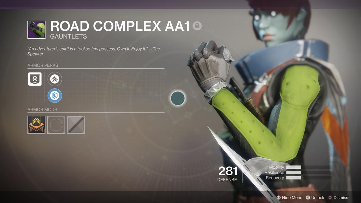 Destiny 2 - Road Complex AA1 gauntlets, revised to remove artwork resembling Kek symbol
