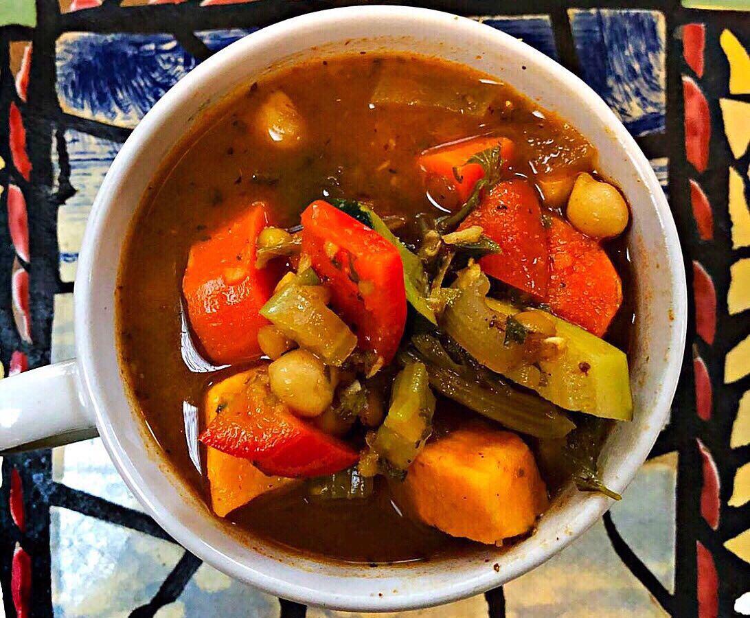 A bowl of veggie soup.