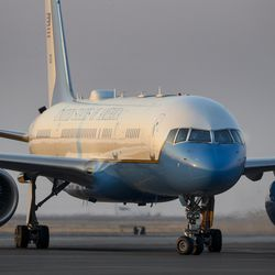 Air Force Two arrives at Salt Lake City International Airport with Vice President Mike Pence on Monday, Oct. 5, 2020. Pence came for Wednesday's debate with the Democratic nominee, California Sen. Kamala Harris.