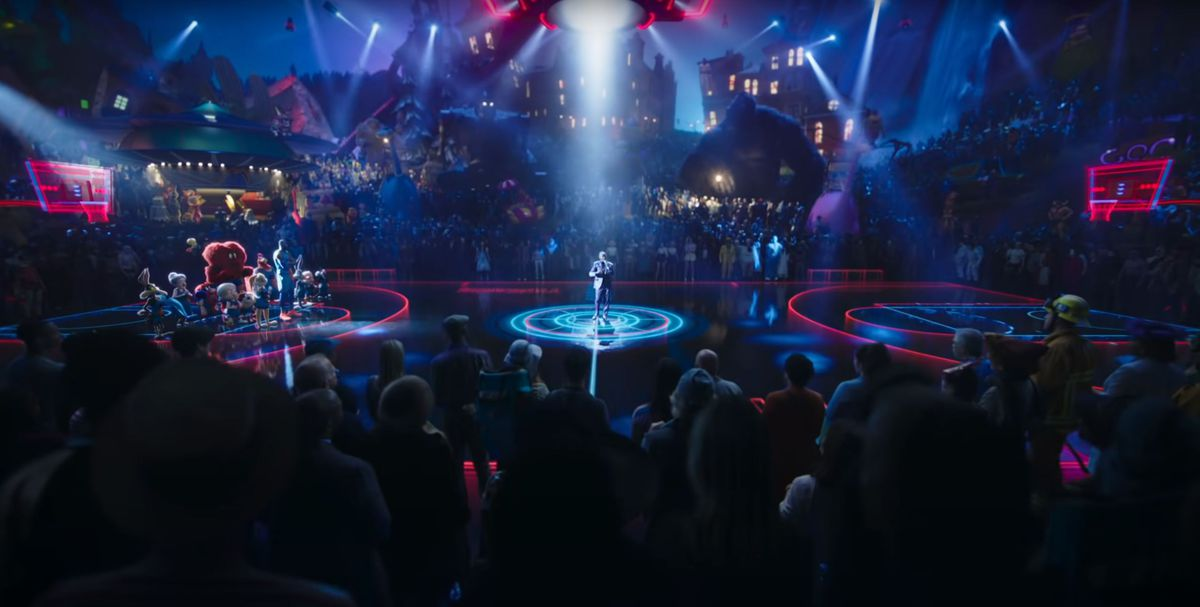 The Dom Ball Stadium in Space Jam: A New Legacy, full of characters from various Warner Bros. properties
