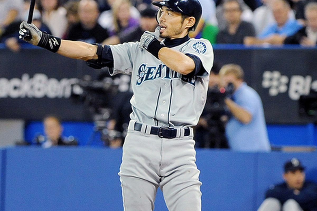 TORONTO ON - SEPTEMBER 22:  Ichiro Suzuki #51 of the Seattle Mariners bats during a game against the Toronto Blue Jays on September 22 2010 at the Rogers Centre in Toronto Canada.  (Photo by Matthew Manor/Getty Images)