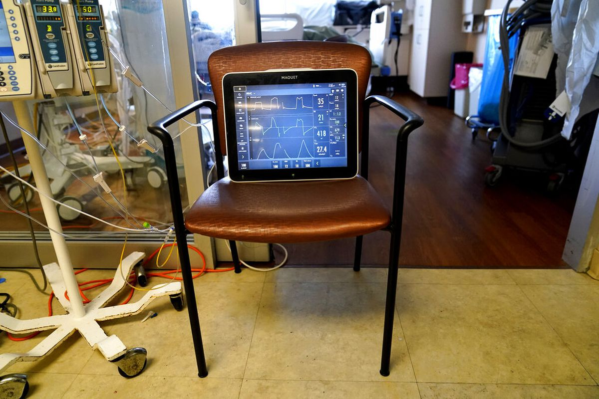A monitor in a COVID-19 ward at the Willis-Knighton Medical Center in Shreveport, Louisiana.