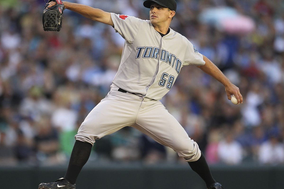 Starting pitcher <strong>Brad Mills</strong> #59 of the <strike>Toronto Blue Jays</strike> Los Angeles Angels of Anaheim.