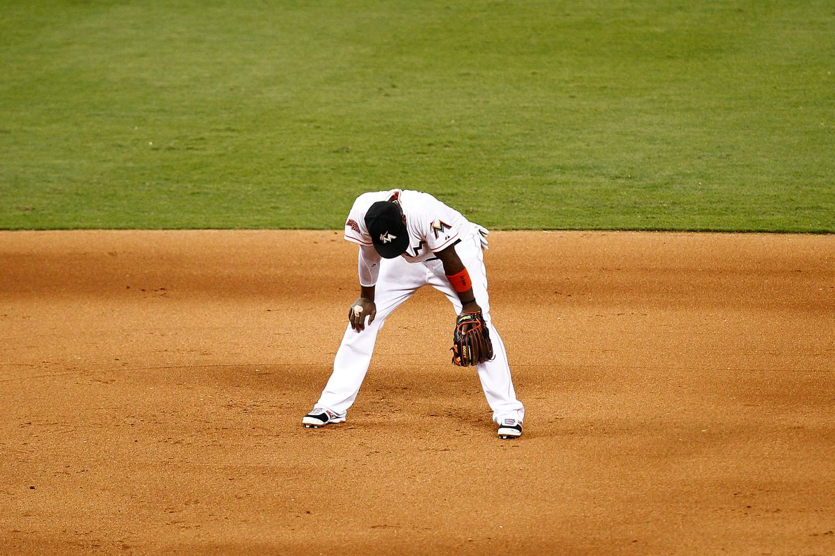 MIAMI, FL - JULY 24: Hanley Ramirez #2 of the Miami Marlins looks on during a game against the Atlanta Braves at Marlins Park on July 24, 2012 in Miami, Florida. The Atlanta Braves defeated the Miami Marlins 4-3. (Photo by Sarah Glenn/Getty Images)